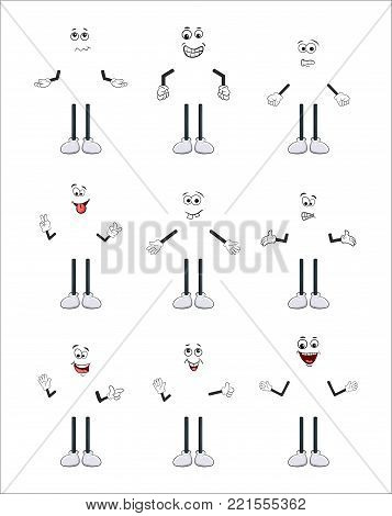 cartoon character arm, leg and face set isolated on white background.