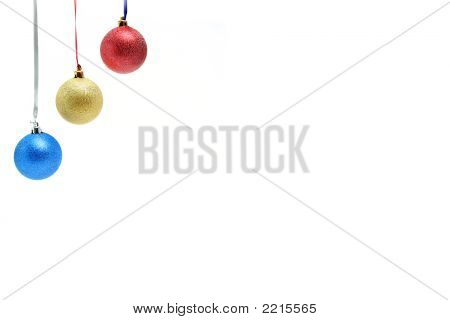 New Year's Ornaments In The Form Of Glass Spheres