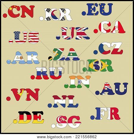 Set Of Domains In National Flag Colors