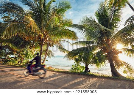 Tourist is driving motorbike on the tropical island at the sunrise. Koh Yao Noi, Thailand