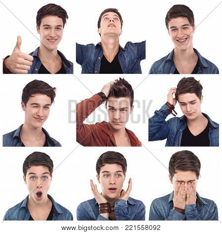 Mosaic of young man multiple expressions images on white background. Mixed emotions poster.