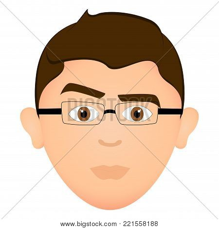Avatar of a serious man, vector illustration