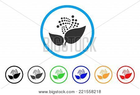 Iota Eco Startup rounded icon. Style is a flat grey symbol inside light blue circle with additional color versions. Iota Eco Startup vector designed for web and software interfaces.