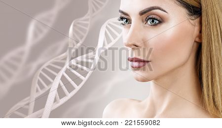 Adult sensual woman among DNA chains over beige background. Biochemistry skin concept. poster