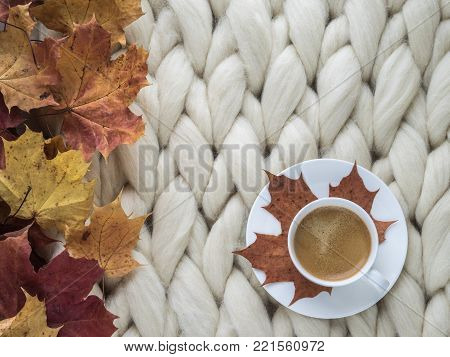 Cozy composition, closeup merino wool blanket, warm and comfortable atmosphere. Knit background. Autumn background.