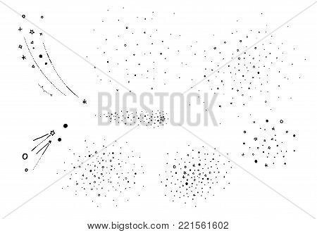 Hand draw starry elements. Stars cluster, falling stars. Sketched vector elements for universe and astrology illustration, cartoon style, black element isolated on white background