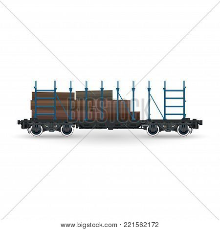 Railway Platform for Timber Transportation Isolated, Train with Timber on White Background, Railway and Cargo Transpor