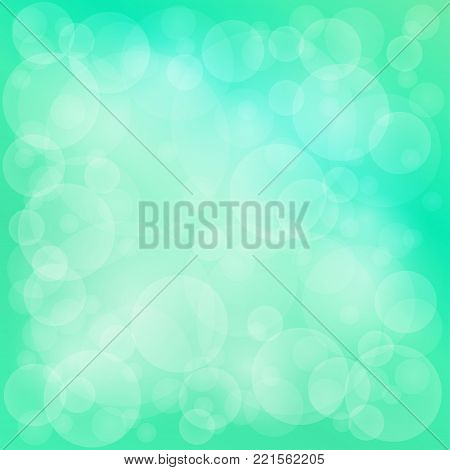 Green Soft Bright Abstract Bokeh Background ,Soft Glow of the Sun , Defocused Lights, Illustration