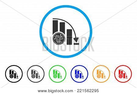 Iota Coin Crisis Chart rounded icon. Style is a flat gray symbol inside light blue circle with additional colored versions. Iota Coin Crisis Chart vector designed for web and software interfaces.