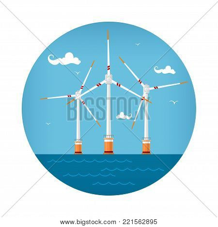 Round Icon Wind Turbines at the Sea, Horizontal Axis Wind Turbines at the Sea off the Coast , Offshore Wind Farm Icon,  Illustration