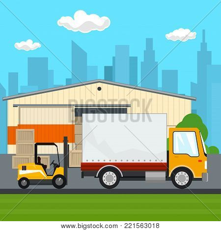 Warehouse and Transport Services ,Warehouse with Forklift Truck and Lorry on the Background of the City, Unloading or Loading of Goods,  Illustration
