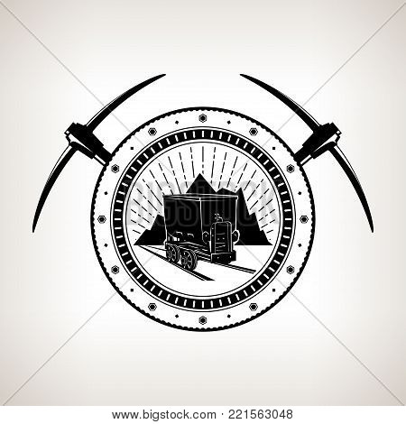 Vintage Emblem of the Mining Industry, Coal Mine Trolley against Mountains and Sunburst in a Gear with Two Crossed Pickaxes, Label and Badge Mine Shaft,  Illustration
