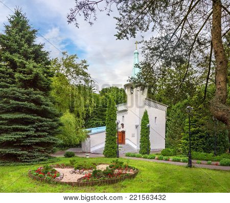 Chapel in honour of The Icon of the Mother of God All grieving Pleasure . It was built in 1994 on the site of the plane crash of 1972. Svetlogorsk. Kaliningrad region. Russia poster