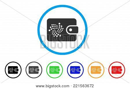 Iota Purse rounded icon. Style is a flat gray symbol inside light blue circle with additional colored variants. Iota Purse vector designed for web and software interfaces.