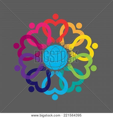 Illustration of people. A group of ten people in a circle. Vector graphic design. Hearts and dots. People in the circle. Flower ornament logo