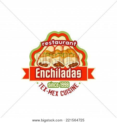 Mexican enchilada or burrito icon for Mexico cuisine fast food restaurant or fastfood bistro menu template. Vector design of Mexican tortilla sandwich snack with chili pepper