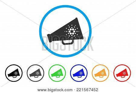 Cardano Megaphone rounded icon. Style is a flat grey symbol inside light blue circle with bonus color versions. Cardano Megaphone vector designed for web and software interfaces.