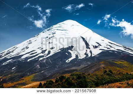 Volcano of Osorno at summer time. Area near the town of Puerto Varas, Chile