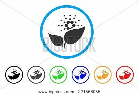 Cardano Startup Sprout rounded icon. Style is a flat grey symbol inside light blue circle with additional colored variants. Cardano Startup Sprout vector designed for web and software interfaces.