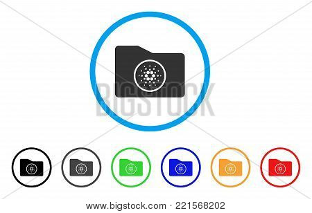 Cardano Wallet rounded icon. Style is a flat grey symbol inside light blue circle with bonus colored versions. Cardano Wallet vector designed for web and software interfaces.