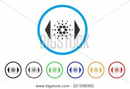 Regulate Cardano rounded icon. Style is a flat grey symbol inside light blue circle with additional color versions. Regulate Cardano vector designed for web and software interfaces.