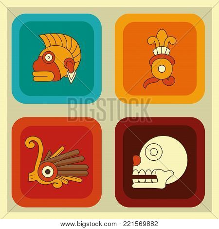 Icon set of  maya culture and mexican landmark theme Vector illustration