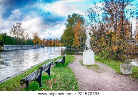 Saint - Petersburg, Russia - October 20, 2017: Girl with an Oar Statue on The Stone Island. Such sculptures were like the propaganda of sports and healthy life in the Soviet art