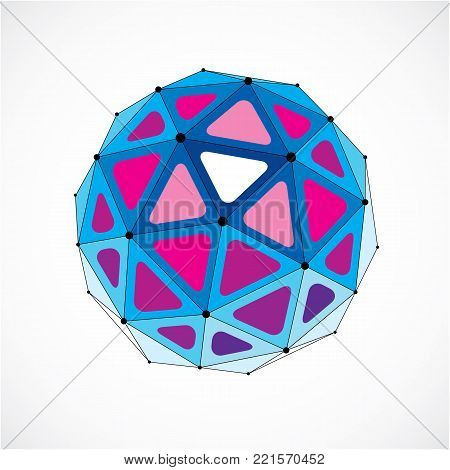 Vector dimensional wireframe low poly object, purple spherical shape with black grid. Technology 3d mesh element made using triangular facets for use as design form in engineering.