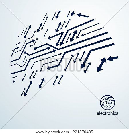 Technology communication cybernetic element with arrows. Vector abstract illustration of circuit board. Modern innovation technologies backdrop.