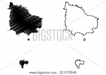 Norfolk Island map vector illustration, scribble sketch Territory of Norfolk Island