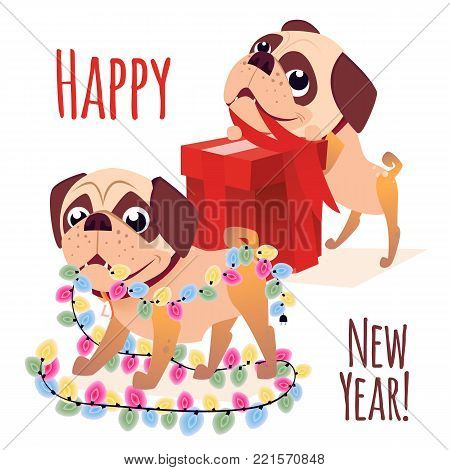 Merry christmass postcard. Happy New Year banner with dog. Cartoon dog with a gift. Vector Puppy character. Design for calendars or postcards or posters or banners or brochures