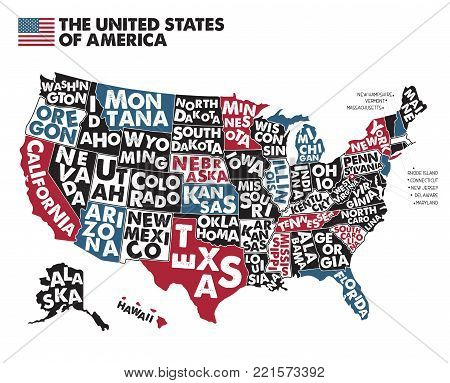 Poster map of United States of America with state names. Black, Red, Blue and White print map of USA for t-shirt, poster or geographic themes. Hand-drawn black map with states. Vector Illustration.