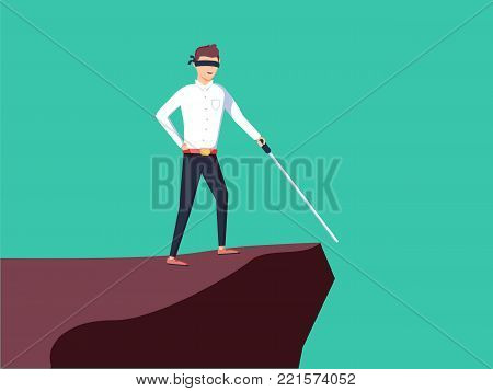 Business vision, strategy, success vector concept with businessman standing on top of rock or mountain above hole with blindfolded eyes looking ahead with a stick. eps10 vector illustration.