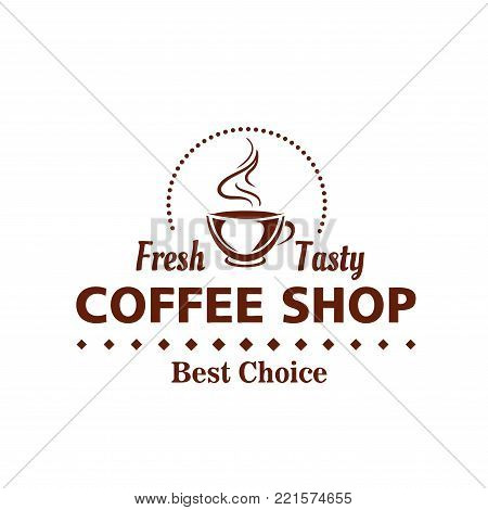 Coffee shop or cafe icon design template of hot coffee cup with steam and coffee beans. Vector isolated symbol of americano or espresso mug for coffeeshop or coffeehouse cafeteria