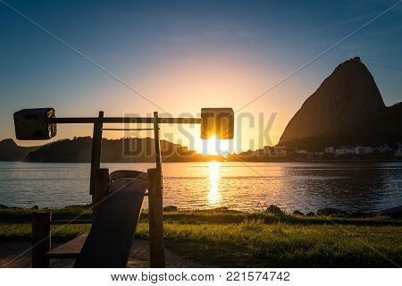 Concrete Weights at the Outdoor Gym in Flamengo Park in Rio de Janeiro During Sunrise with the Sugarloaf Mountain in the Horizon