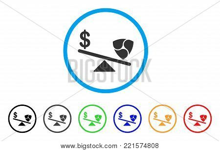 Dollar Nem Balance Swings rounded icon. Style is a flat grey symbol inside light blue circle with bonus color variants. Dollar Nem Balance Swings vector designed for web and software interfaces.