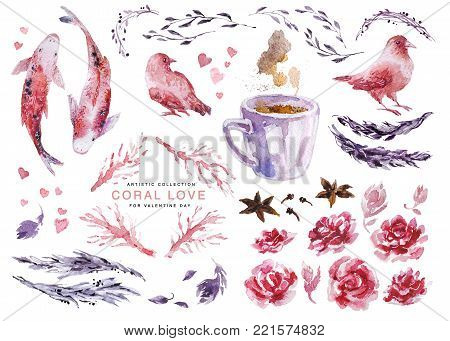 Artistic watercolor collection of love elements for Valentine day & wedding celebration cards, posters, prints, leaflets - fish ,birds couple, coral plant brunches, leaves, hearts set, hot coffee cup.