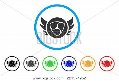 Nem Angel Investment rounded icon. Style is a flat gray symbol inside light blue circle with additional colored versions. Nem Angel Investment vector designed for web and software interfaces.