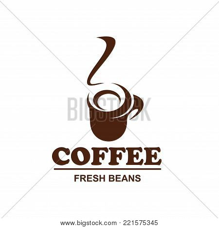 Coffee cup with hot steam icon for fresh bean product packaging or cafeteria and cafe menu design template. Vector isolated hot steamy mug of americano or cappuccino for shop or coffeehouse