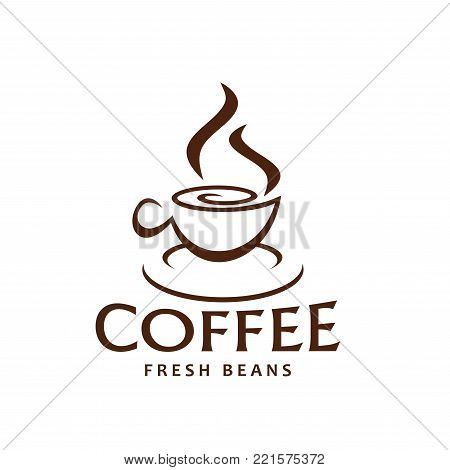 Coffee cup and steam outline brown icon for fresh beans packaging label or coffeeshop design template. Vector hot steamy mug of espresso or americano and cappuccino coffee drink for coffeehouse