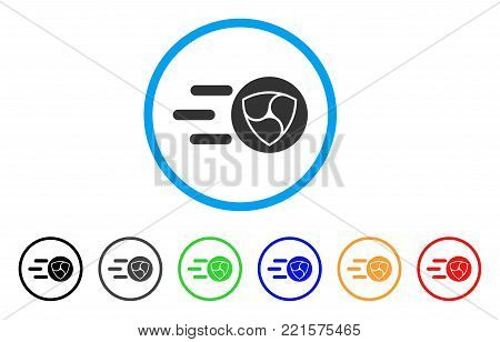 Nem Trace rounded icon. Style is a flat grey symbol inside light blue circle with bonus color versions. Nem Trace vector designed for web and software interfaces.
