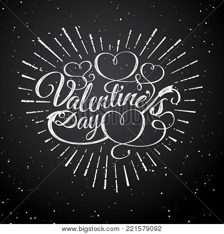 Happy Valentine s Day vector vintage illustration. Sign with sun beams and arrow. Stamps label with sun rays. Valentines Day ornament. Bursting heart shape. Romantic decoration element. Love theme.