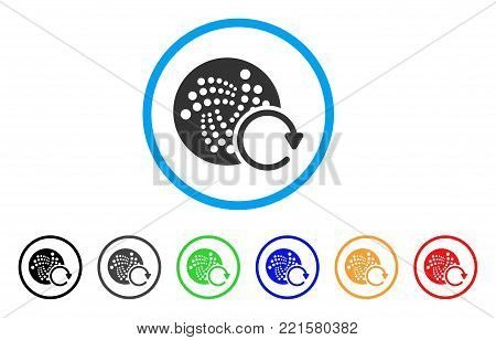 Iota Repeat rounded icon. Style is a flat gray symbol inside light blue circle with additional colored versions. Iota Repeat vector designed for web and software interfaces.