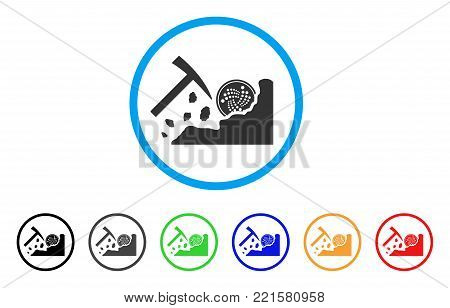 Mining Iota Rocks rounded icon. Style is a flat grey symbol inside light blue circle with bonus color variants. Mining Iota Rocks vector designed for web and software interfaces.