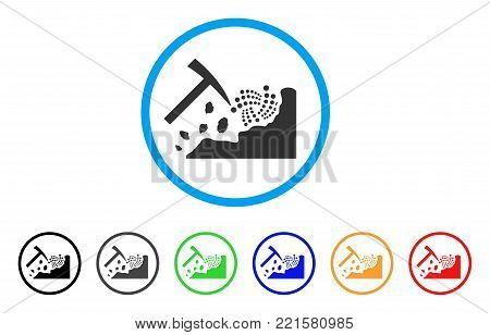 Mining Iota Rocks rounded icon. Style is a flat grey symbol inside light blue circle with additional colored versions. Mining Iota Rocks vector designed for web and software interfaces.