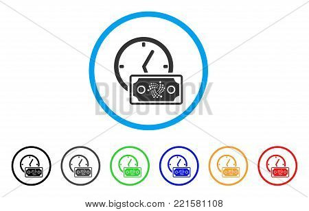 Iota Banknote Credit rounded icon. Style is a flat grey symbol inside light blue circle with additional color versions. Iota Banknote Credit vector designed for web and software interfaces.