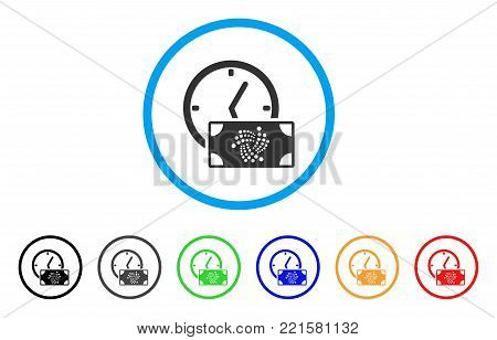 Iota Banknote Credit Time rounded icon. Style is a flat gray symbol inside light blue circle with bonus colored versions. Iota Banknote Credit Time vector designed for web and software interfaces.