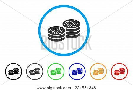Iota Coin Columns rounded icon. Style is a flat grey symbol inside light blue circle with additional color versions. Iota Coin Columns vector designed for web and software interfaces.