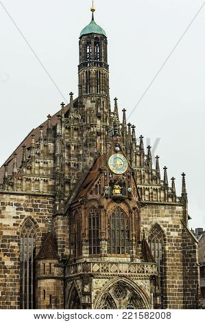 Gothic architecture in Bavaria. The Frauenkirche Church of Our Lady is a catholic church in Nuremberg, Germany.
