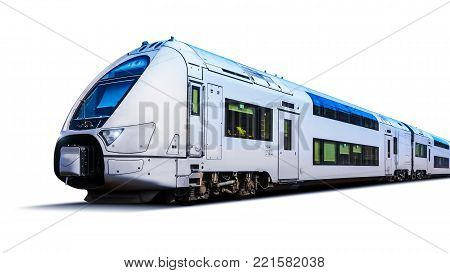 Modern high speed passenger commuter train isolated on white background